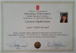 Diyetisyen Ayşe Tuğba Şengel Diploma